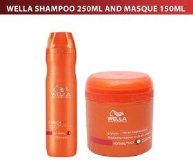 Aachi Daily-use Wella Professionals Enrich(ORANGE) 1 Moisturizing Treatment Shampoo 250ml And Masque 150ml