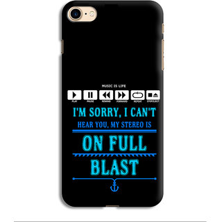 PrintVisa Music Stereo Cant Hear You Full Blast Life Mobile Cover Designer Printed Hard Back Case For iPhone 7 - Multicolor