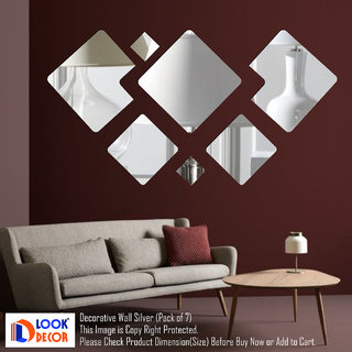 Look Decor-7 Decorative-(Silver-Pack of 7)-3D Acrylic Mirror Wall Stickers Decoration for Home Wall Office Wall Stylish and Latest Product Code Number 958
