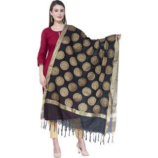 A R Silk Women's Zari Embroidery Vanarsi Silk Black Dupattas  Chunnis