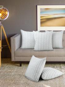 Klotthe set of 5 Grey Cushion Covers (16 * 16 inch)