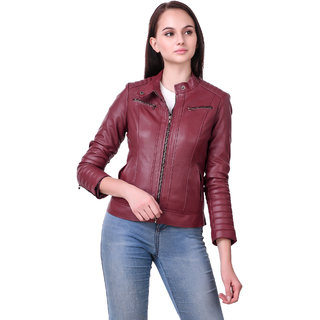 Leather Retail Cherry colour Full Sleeve Solid Jacket for Woman