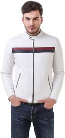 Leather Retail White Faux Leather Biker Jacket for Man