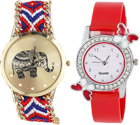 Neutron Contemporary Luxury Elephant And Butterfly Analogue Multi Color And Red Color Girls And Women Watch - G158-G101 (Combo Of  2 )