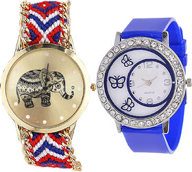 Neutron Contemporary Collegian Elephant And Butterfly Analogue Multi Color And Blue Color Girls And Women Watch - G158-G107 (Combo Of  2 )