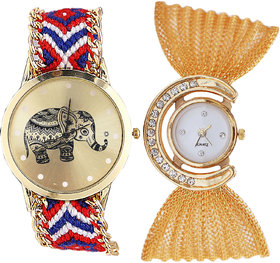 Neutron Classical Fashion Elephant And Jula Analogue Multi Color And Gold Color Girls And Women Watch - G158-G172 (Combo Of  2 )