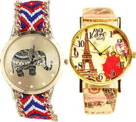 Neutron New Wrist  Elephant And Paris Eiffel Tower Analogue Multi Color Color Girls And Women Watch - G158-G254 (Combo Of  2 )