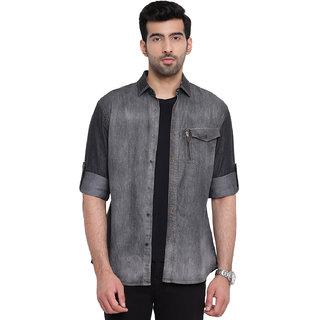 AC&F Men's Black Heavy Washed Casual Denim Shirt