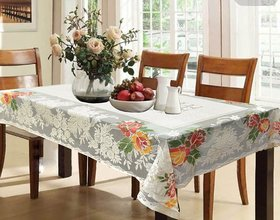 CASA-NEST Cotton Dining Table Cover for 6 Seater - Cream