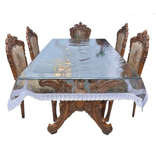 CASA-NEST Classic Transparent with White Lace 6 Seater Dining Table Cover