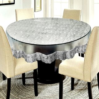 CASA-NEST Waterproof Transparent Round Table Cover with Silver Lace White Square Pattern(Suitable for 6 Seater, 72 inch Diameter)