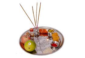 Big Size Steel Laxmi Ganesh Pooja Plate