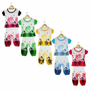 Jisha Multicolor Girls Tshirt and 3/4th Capri Set of 5