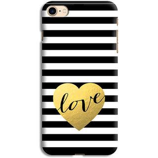 PrintVisa Black White Line Design Love Quote Designer Printed Hard Back Case For iPhone 8 - Multicolor