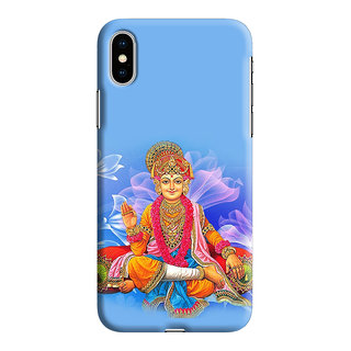 PrintVisa Swaminarayan Bhagwan Lord Quote Messages Designer Printed Hard Back Case For iPhone Xs - Multicolor