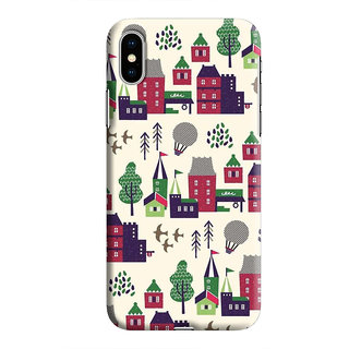 PrintVisa All Things Rail House Balloons Trees Farm Designer Printed Hard Back Case For iPhone Xs - Multicolor