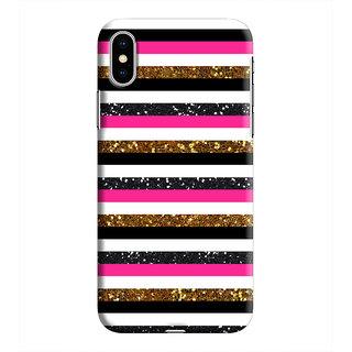 PrintVisa Pink Band Pattern Black White Golden Designer Printed Hard Back Case For iPhone Xs - Multicolor