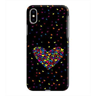 PrintVisa Heart Dil Black Romance Love Pyar Romantic Stripes Designer Printed Hard Back Case For iPhone Xs - Multicolor