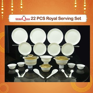 Crypton 22 Pcs Royal Serving Set(White)