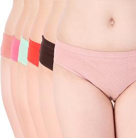 Glister Pure Cotton High Weist Women Panties set of 6