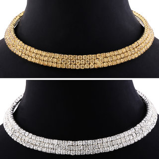 SILVER SHINE Three Line Diamond Studded Party Wear Necklaces Combo For Girls And Womens Jewellery Set of 2