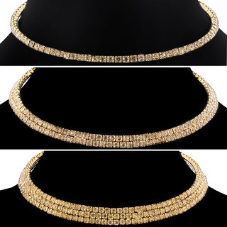 SILVER SHINE Diamond Studded Party Wear Necklaces Combo For Girls And Womens Jewellery Set of 3