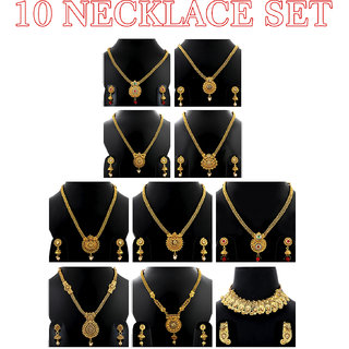 SILVER SHINE Gold Plated Traditionaljewellery sets combo for Girls and Womens