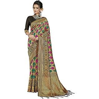 Yadu Nandan Fashion Black Colour Banarasi Art Silk Party Wear Saree With Unstitched Blouse Piece (29914)