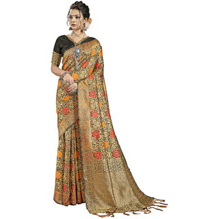 Yadu Nandan Fashion Black Colour Banarasi Art Silk Party Wear Saree With Unstitched Blouse Piece (29921)