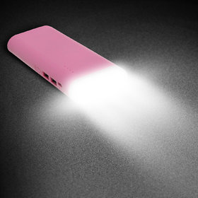 Hobins tall torch with 2 USB ports 20000 mah power bank (pink)