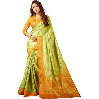 Yadu Nandan Fashion Lime Green Colour Banarasi Art Silk Party Wear Saree With Unstitched Blouse Piece (28494)