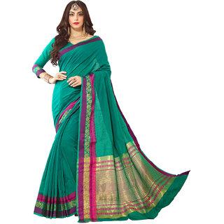 Yadu Nandan Fashion Teal Colour Cotton Art Silk Daily Wear Saree With Unstitched Blouse Piece (28424)