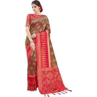 Yadu Nandan Fashion Green Colour Banarasi Art Silk Party Wear Saree With Unstitched Blouse Piece (29134)