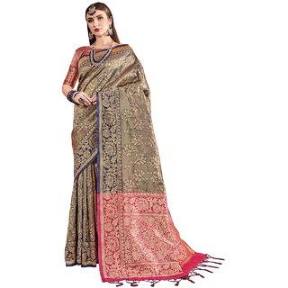 Yadu Nandan Fashion Navy Blue Colour Kanjeevaram Art Silk Party Wear Saree With Unstitched Blouse Piece (29891)