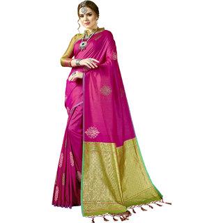 Yadu Nandan Fashion Pink Colour Kanjeevaram Art Silk Party Wear Saree With Unstitched Blouse Piece (29266)
