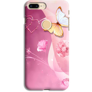 PrintVisa Pink Roses Hearts Flower And Beautiful Butterflies Designer Printed Hard Back Case Cover For One Plus 5T - Multicolor