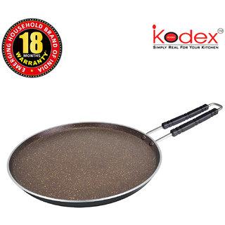 Kodex Cookware Non-stick Aluminium Dosa Tawa with Wire Handle, Non Stick Cookware 100  PFOA-Free Dosa Tawa, Thickness 4 mm/ Granite Finish, 250 mm/ Induction Bottom