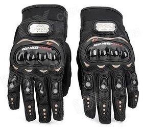 Pro Biker Leather Motorcycle Gloves (Black, XL)