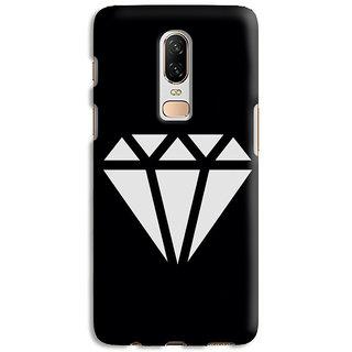 PrintVisa Diamond Triangles Black White Kaala Safed Mobile Cover Designer Printed Hard Back Case Cover For One Plus 6T - Multicolor