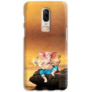 PrintVisa Gold Ganapati Ganesh Ganesha Designer Printed Hard Back Case Cover For OnePlus 7 - Multicolor