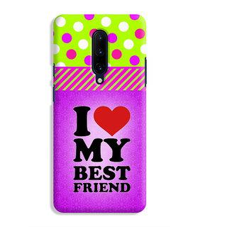PrintVisa Best Friend Quote Violet Designer Printed Hard Back Case Cover For OnePlus 7 Pro - Multicolor