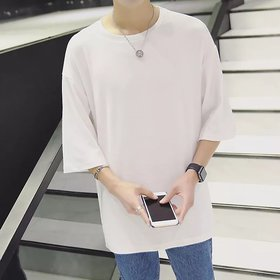 Pause White Solid Round Neck Loose Fit 3/4 Sleeve Men T-Shirt