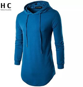 Pause Royal Blue Solid Hooded Slim Fit Full Sleeve Men'S T-Shirt