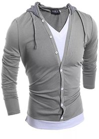 Pause Men Hooded Silver T-Shirt