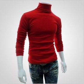 Pause Men Red Solid High Neck T Shirt
