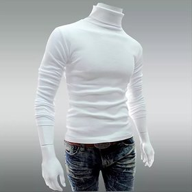 Attitude Jeans White High Neck T-Shirt for Men