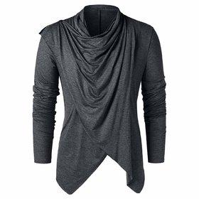 Pause Grey Solid Cotton Blend Shawl Collar Slim Fit Full Sleeve Men Cardigan