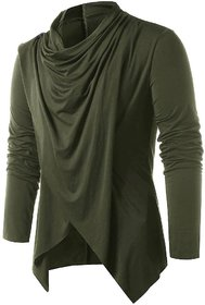Pause Olive Solid Shawl Collar Slim Fit Full Sleeve  Cotton Blend Men'S Cardigan