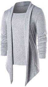 Pause Silver Solid Shawl Collar Slim Fit Full Sleeve Men'S Cardigan