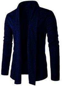 Pause Men Blue Solid Cotton Lapel Collar Cardigan